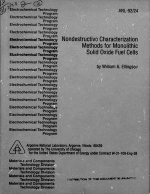 Primary view of object titled 'Nondestructive Characterization Methods for Monolithic Solid Oxide Fuel Cells'.