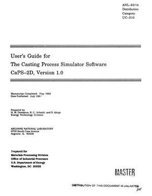 Primary view of object titled 'User`s Guide for the Casting Process Simulator Software CaPS-2D, Version 1.0'.