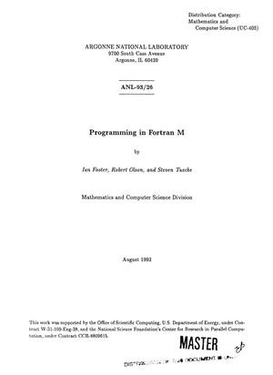 Primary view of object titled 'Programming in Fortran M'.
