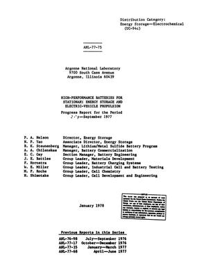 Primary view of object titled 'High-Performance Batteries for Stationary Energy Storage and Electric-Vehicle Propulsion, Progress Report: July-September 1977'.