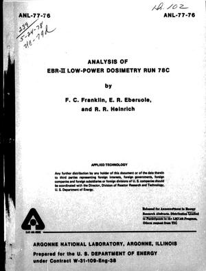 Primary view of object titled 'Analysis of EBR-II Low-Power Dosimetry Run 78C'.