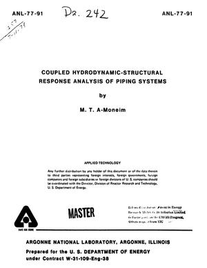 Primary view of object titled 'Coupled Hydrodynamic-Structural Response Analysis of Piping Systems'.