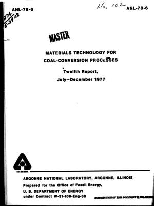 Primary view of object titled 'Materials Technology for Coal-Conversion Processes Progress Report: July-December 1977'.