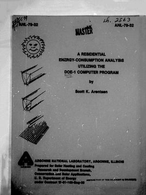 Primary view of object titled 'A Residential Energy Consumption Analysis Utilizing the DOE-1 Computer Program'.