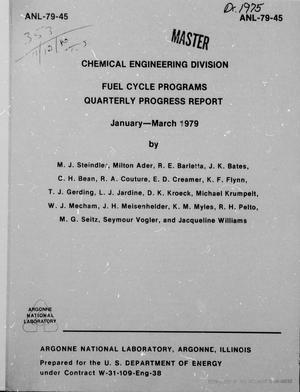Primary view of object titled 'Fuel Cycle Programs, Quarterly Progress Report: January-March 1979'.