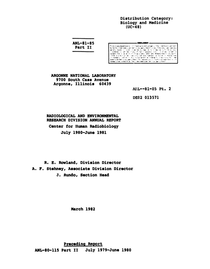 Radiological and environmental research division annual report primary view of object titled radiological and environmental research division annual report part 2 malvernweather Images