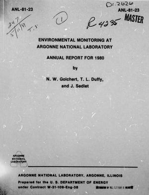 Primary view of object titled 'Environmental Monitoring at Argonne National Laboratory, Annual Report: 1980'.