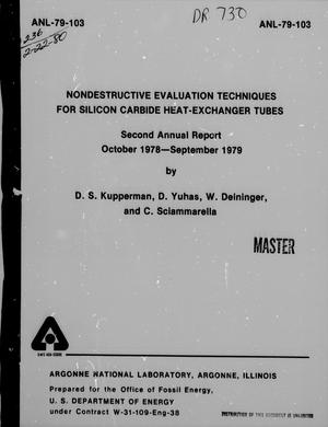 Primary view of object titled 'Nondestructive Evaluation Techniques for Silicon Carbide Heat-Exchanger Tubes  : Second Annual Report, October 1978-September 1979'.