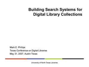 Primary view of object titled 'Building Search Systems for Digital Library Collections'.