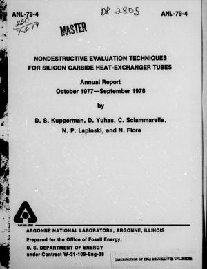 Primary view of object titled 'Nondestructive Evaluation Techniques for Silicon Carbide Heat-Exchanger Tubes  : Annual Report, October 1977-September 1978'.