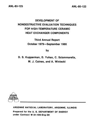Primary view of object titled 'Development of Nondestructive Evaluation Techniques for High-Temperature Ceramic Heat Exchanger Components : Third Annual Report, October 1979-September 1980'.
