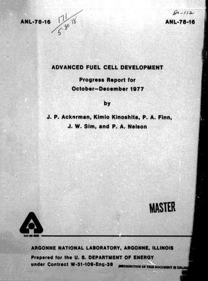 Primary view of object titled 'Advanced Fuel Cell Development Progress Report: October-December 1977'.