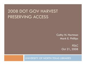 Primary view of object titled '2008 DOT GOV Harvest Preserving Access'.