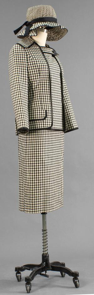 Primary view of object titled 'Ensemble - Jacket, Blouse, Skirt, Belt, Hat'.