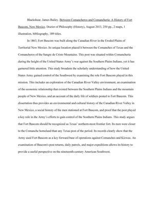 Between Comancheros And Comancheria A History Of Fort Bascom New Mexico Unt Digital Library