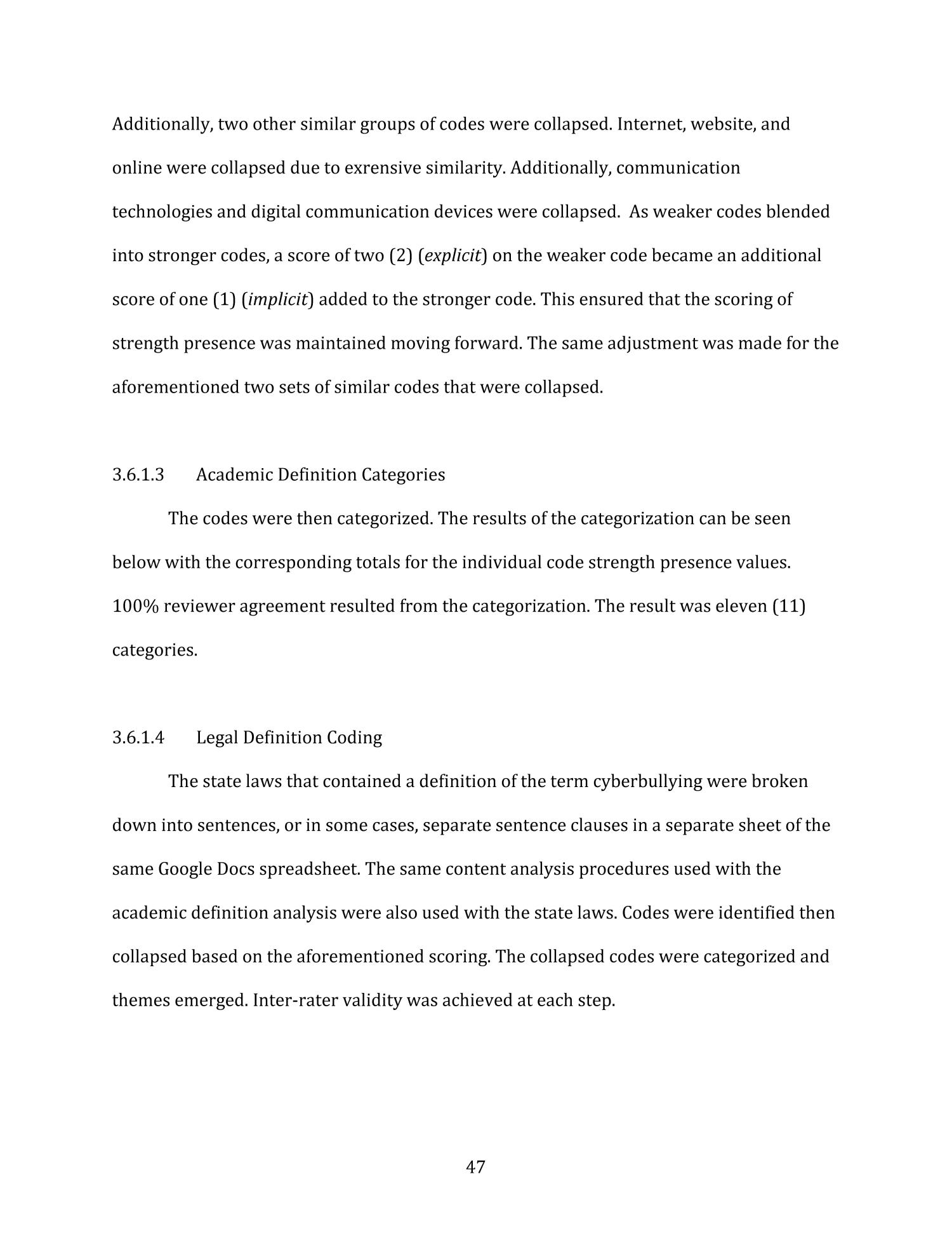 "Analyzing Patterns Within Academic and Legal Definitions: a Qualitative Content Analysis of the Term ""Cyberbullying""                                                                                                      47"