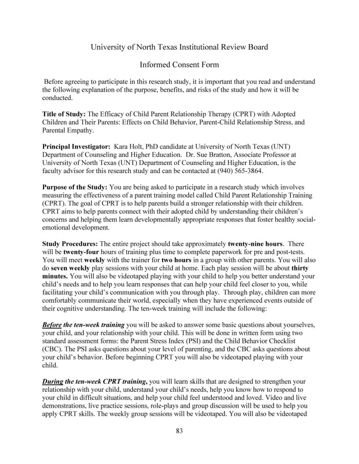 counselling consent form template - child parent relationship therapy cprt with adoptive