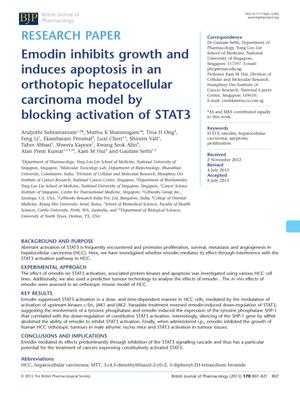 Primary view of object titled 'Emodin inhibits growth and induces apoptosis in an orthotopic hepatocellular carcinoma model by blocking activation of STAT3'.