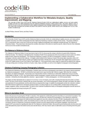 Primary view of object titled 'Implementing a Collaborative Workflow for Metadata Analysis, Quality Improvement, and Mapping'.