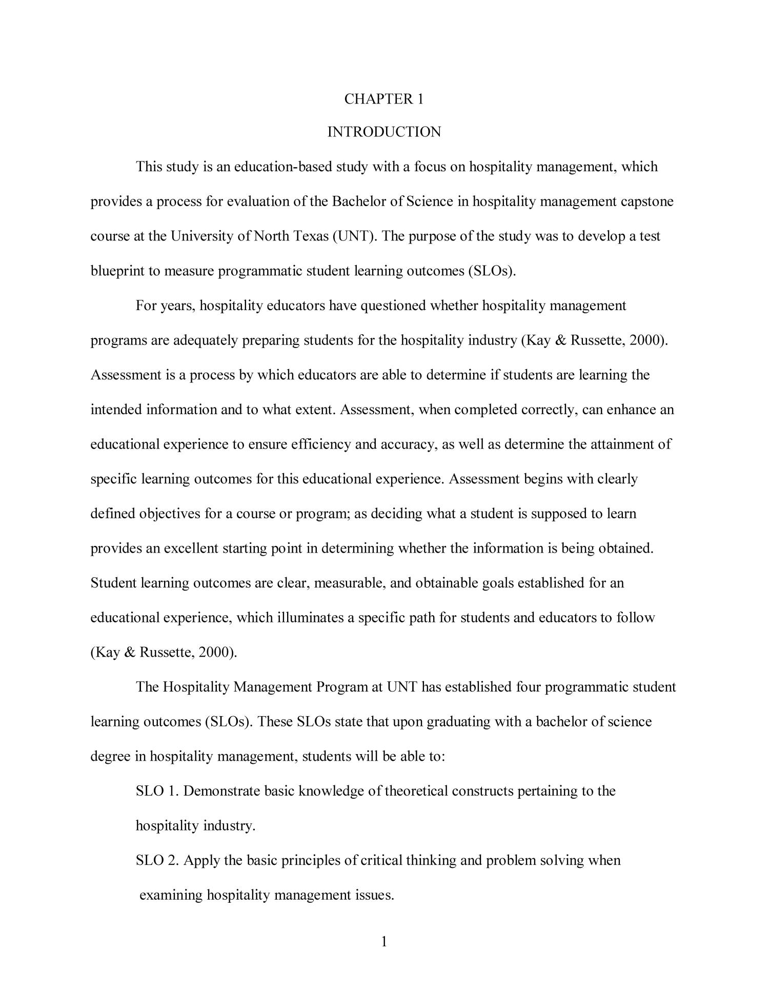 Development of a test blueprint for a hospitality management development of a test blueprint for a hospitality management capstone course to measure programmatic student learning outcomes page 1 digital library malvernweather Image collections
