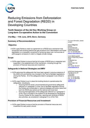 Reducing Emissions from Deforestation and Forest Degradation (REDD) in Developing Countries
