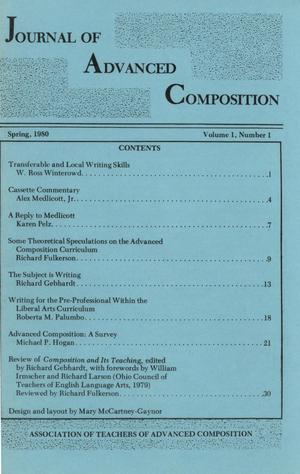 Primary view of object titled 'Journal of Advanced Composition, Volume 1, Number 1, Spring, 1980'.