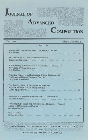 Journal of Advanced Composition, Volume 1, Number 2, Fall, 1980