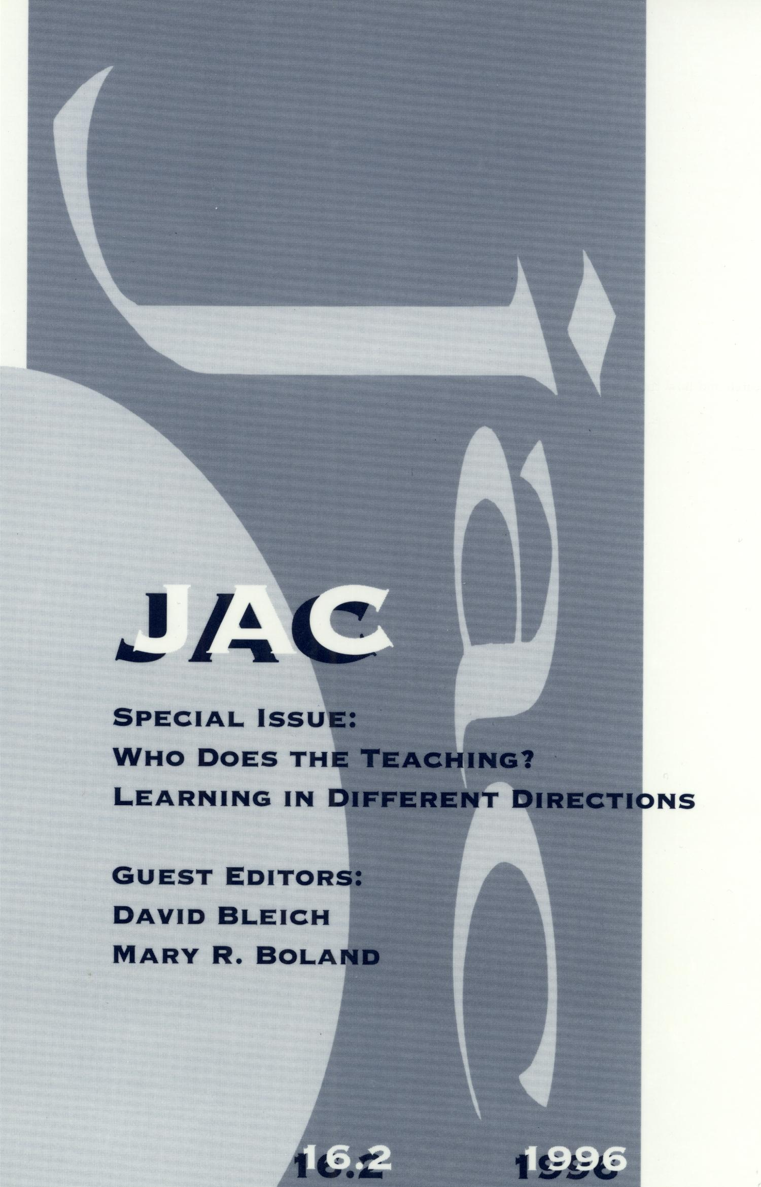 JAC: A Journal of Composition Theory, Volume 16, Number 2, 1996                                                                                                      Front Cover