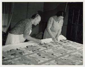 Primary view of object titled '[Aunt Nora Treece and Iris Clark Quilting]'.