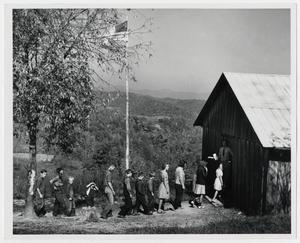 Primary view of object titled '[Students entering Locust Grove School(1)]'.