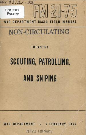 Primary view of object titled 'Scouting, patrolling, and sniping.'.