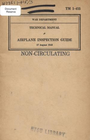 Primary view of object titled 'Airplane inspection guide.'.