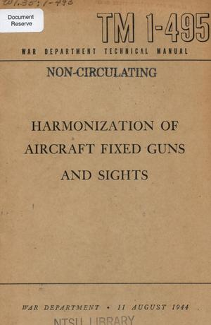 Primary view of object titled 'Harmonization of aircraft fixed guns and sights.'.