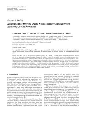 Primary view of object titled 'Assessment of Styrene Oxide Neurotoxicity Using In Vitro Auditory Cortex Networks'.