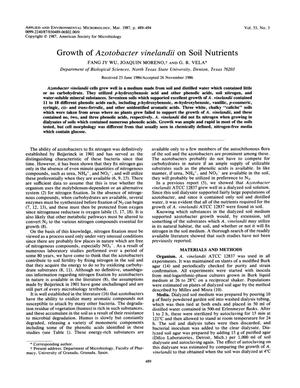 Primary view of object titled 'Growth of Azotobacter vinelandii on Soil Nutrients'.
