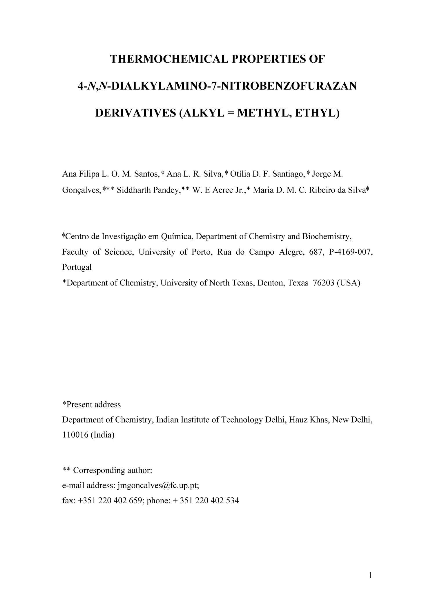 Thermochemical Properties of 4-N,N-Dialkylamino-7-Nitrobenzofurazan