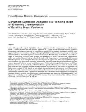 Primary view of object titled 'Manganese Superoxide Dismutase Is a Promising Target for Enhancing Chemosensitivity of Basal-like Breast Carcinoma'.