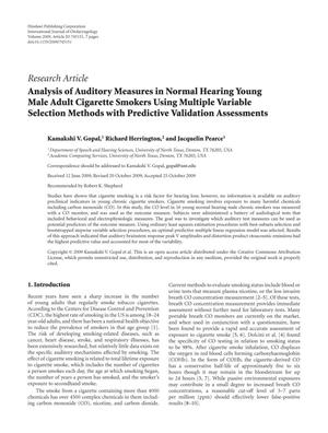 Primary view of object titled 'Analysis of Auditory Measures in Normal Hearing Young Male Adult Cigarette Smokers Using Multiple Variable Selection Methods with Predictive Validation Assessments'.