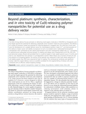 Primary view of object titled 'Beyond platinum: synthesis, characterization, and in vitro toxicity of Cu(II)-releasing polymer nanoparticles for potential use as a drug delivery vector'.