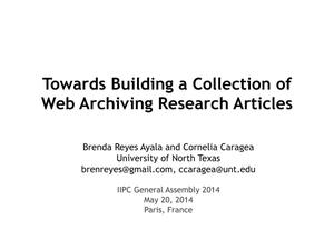 Primary view of object titled 'Towards Building a Collection of Web Archiving Research Articles'.