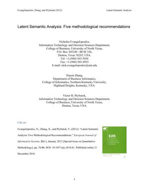Primary view of object titled 'Latent Semantic Analysis: Five methodological recommendations'.