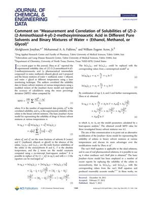 "Primary view of object titled 'Comment on ""Measurement and Correlation of Solubilities of (Z)-2-(2-Aminothiazol-4-yl)-2-methoxyiminoacetic Acid in Different Pure Solvents and Binary Mixtures of Water + (Ethanol, Methanol, or Glycol)""'."