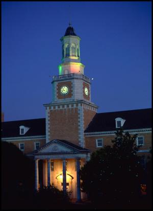 Primary view of object titled '[McConnell Memorial Tower of the Administration Building at dusk]'.