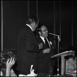 Primary view of object titled '[Alumni Awards Luncheon, April 27, 1974: Murphy Martin and President C.C. Nolen]'.