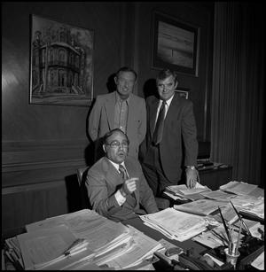 Primary view of object titled '[Don January & Martin Murphy with NTSU President C.C. Nolen]'.