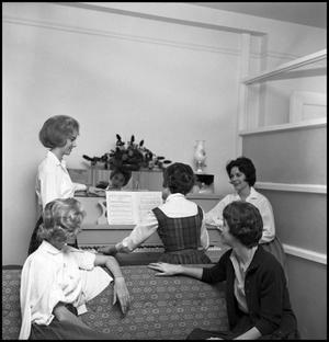 Primary view of object titled '[Members of Alpha Phi practice for Greek Sing Song, 1962]'.