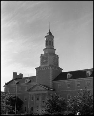 Primary view of object titled '[McConnell Memorial Tower and Administration Building from the northwest]'.