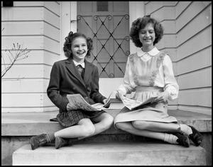 Primary view of object titled '[Two Rutledge Girls on a Porch]'.