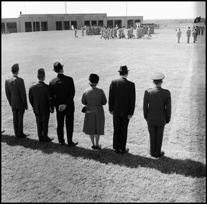 Primary view of object titled '[AFROTC review for President Matthews' Birthday]'.