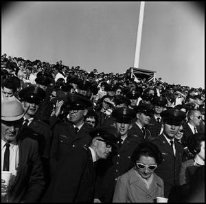 Primary view of object titled '[AFROTC members at Homecoming Game, November 5, 1966]'.